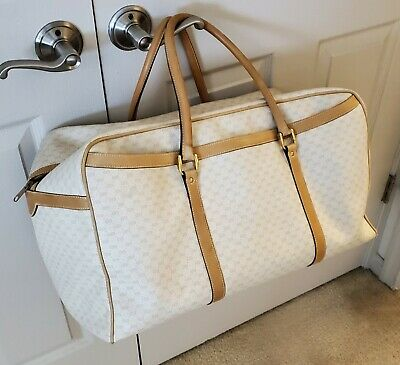 Vintage Gucci Large Tan/Ivory Duffle/Travel Bag-Classic GG Monogram- w/ Serial #