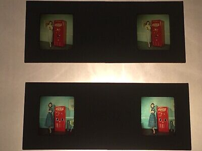 VINTAGE Two 1950s KODACHROME STEREO 3D SLIDE COCA COLA GIRL ADVERTISEMENT