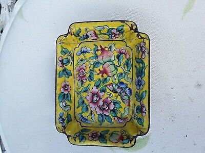 Small vintage cloisonne yellow dish