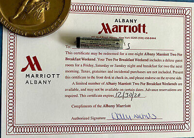 Albany NY Marriott  1 Night Wknd Hotel Stay With Breakfast Expires 12/30/2020
