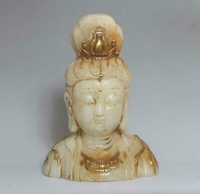 Large Fine Chinese Carved Jade Statue Guanyin Buddha H8.27""