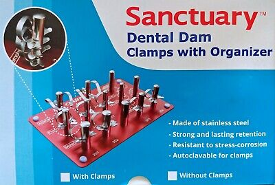 Rubber Dam Clamps - 9 Clamps + Organiser New Unused Boxed Free P & P UK