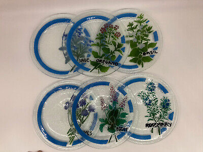 Peggy Karr Plates 7 3/4 Inch Herb Collection Signed