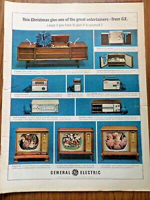 1964 GE General Electric TV Television Phonographs Ad   Christmas
