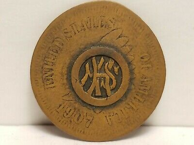 """Token, Made From 1907 Indian Head Cent, Stamped Logo """" HMS""""."""
