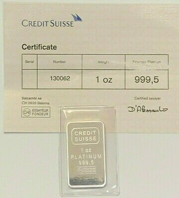 1 oz. Credit Suisse Platinum Bullion Bar, w/COA