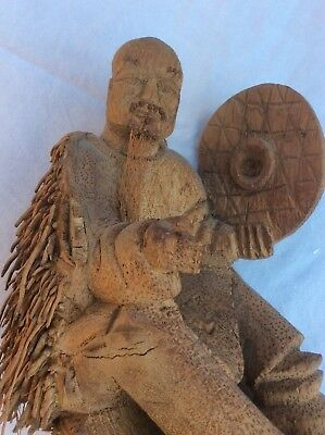 Antique Chinese Figure of Man Fishing carved from Coconut wood