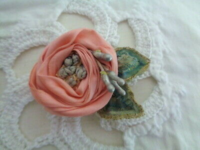 """Handmade 1 7/8"""" Pink Edwardian Silk Rose With French Knots French Ribbon"""
