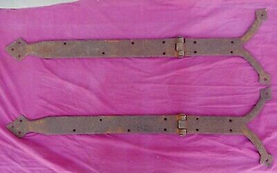 """Huge PAIR Handwrought Antique Fancy Wrought Iron Hinges 47"""" x 14"""""""