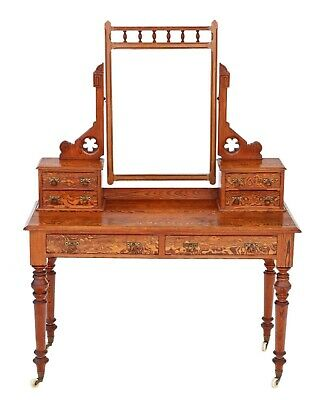 Antique quality Victorian 19th Century pitch pine dressing table Aesthetic