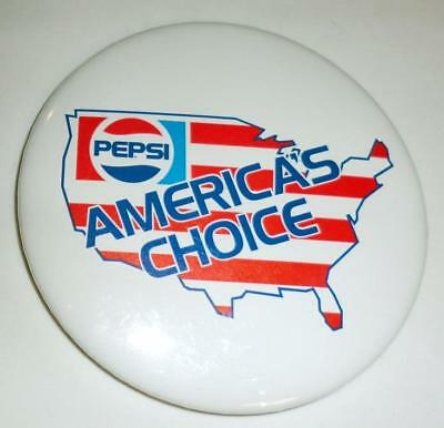"PEPSI ""America's Choice"" Pin/Button 3"" VINTAGE! FREE SHIPPING!"