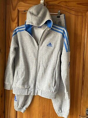 Boys Adidas Grey Jacket & Bottoms Joggers  Tracksuit Age 9-10 Years Hoody