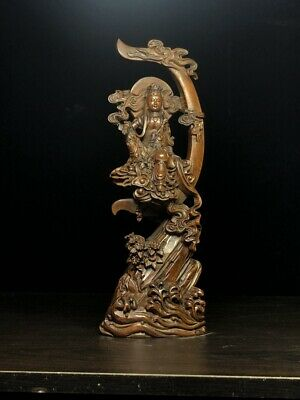 Decorative Boxwood Carved Guanyin Sits Tree Exquisite Beautiful Souvenir Statue