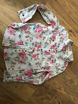 GIRLS NEXT PINK LONG SLEEVED SHIRT WITH FLORAL DESIGN age 9years IN VGC