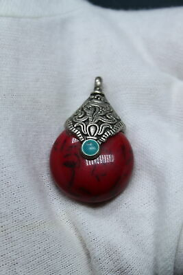 Decorative Exquisite Handwork Miao Silver Inlay Red Beads Precious Rare Pendant