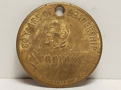 Medal, 1937, 80th Anniv. Of Seagram's Whiskies. Since, 1857, Holed.