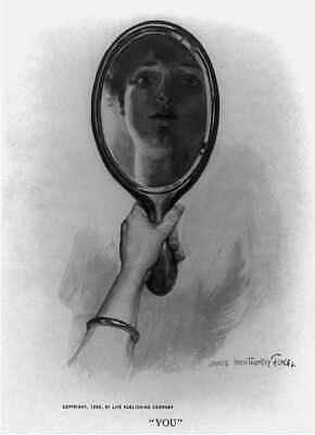 Photo:You,Hand holding mirror with reflection of woman's face,c1906