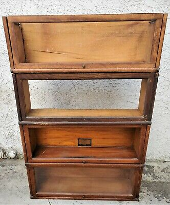 Oak Barrister Lawyer's Bookcase 4 Stacks Barn Find Parts Restoration Refinishing