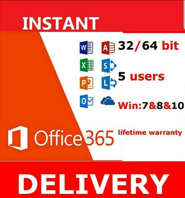 GENUINE OFFICE 365 2016/2019 Pro Plus 5 Device PC/MAC Not Key 24/7 Delivery