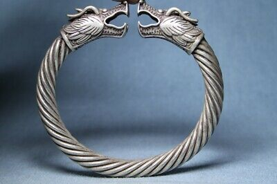 Collectable Souvenir Rare Miao Silver Carving Two Dragon Head Precious Bracelet