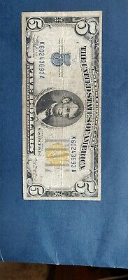 United States Series 1934A $5 Yellow Seal North Africa Silver Certificate