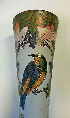 "Fine Signed French Art Nouveau Glass 12"" Vase Enameled Impasto Bird Legras"