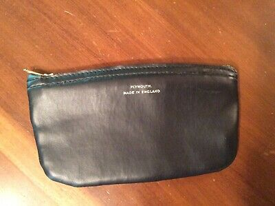 Vintage Leather Pipe Tobacco Zippered Pouch ~ Plymouth Made In England