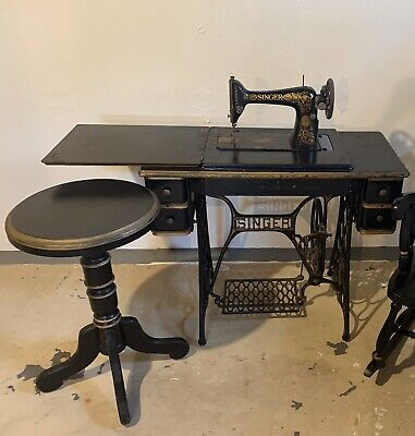 Antique Vintage Treadle Singer Sewing Machine and Side Table