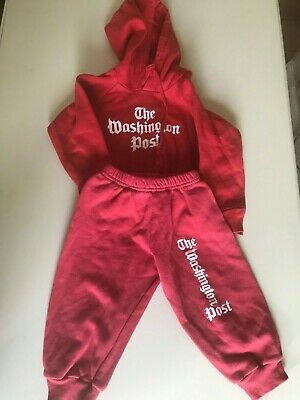 American 'Washington Post' girls/boys toddler red track suit, 2 years