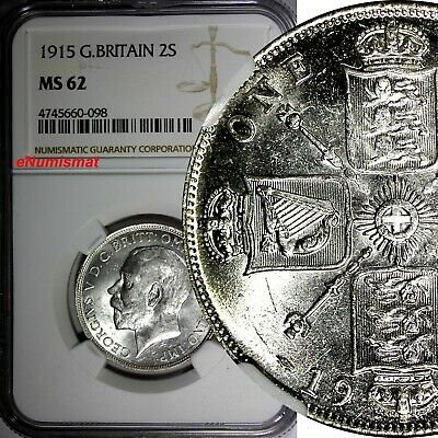 GREAT BRITAIN George V (1910-1936) Silver 1915 1 FLORIN NGC MS62 SCARCE KM# 817
