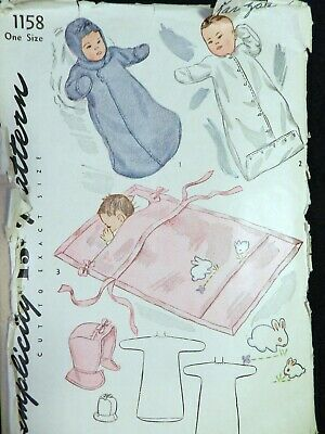 Vtg 1940s WWII Simplicity 1158 Baby Blanket Carriage Coat Sleeper Sewing PATTERN