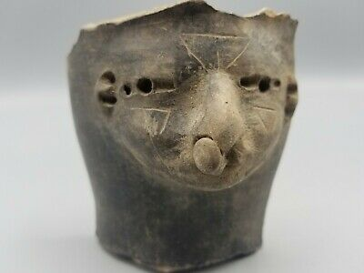 Ancient Big Fragmentary Pre-Columbian Head Fragment Of A Statuette