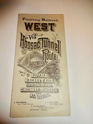 1893 Fitchburg Railroad Hoosas Tunnel Timetable Chicago Map