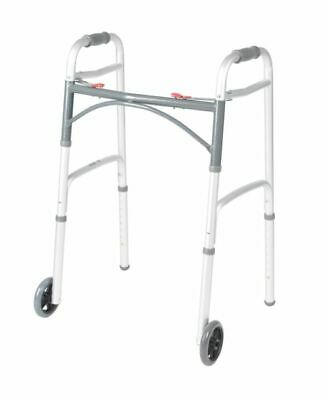 """Deluxe Two Button Folding Walker with 5"""" Wheels - Silver"""