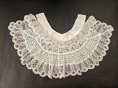 Antique Embroidered Eyelet And Lace Collar Piece For Dress