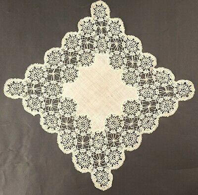 Antique Handkerchief With Handmade Lace