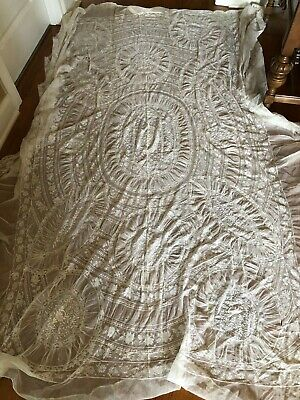 Antique Vintage French Normandy Mixed Lace Net Bedspread Tablecloth Drape