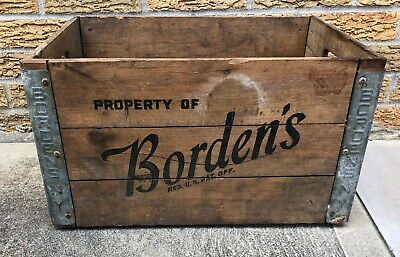Bordens Dairy Milk Wooden Crate Black Letters NY Vintage