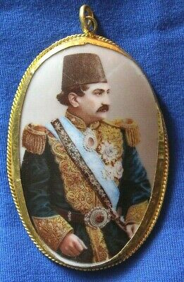 103-Fine Antique Persian Miniature Painting of Shah Qajar set in 22 K Yellow Gol