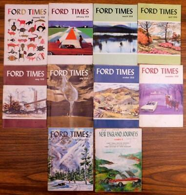 1958 Ford Times 11 Issues no Jan + New England Journeys Special Issue slf-top