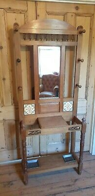 Antique Wooden Victorian Hall Stand for Hats Coats and Umbrella