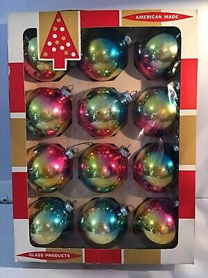 12 Vintage Mercury Glass Christmas Ornaments Round Coby Multi Colored