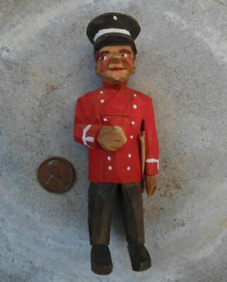 VINTAGE FLAT PLANE CARVED WOOD MAN PORTER WITH CAP AND PAPER c.1940's