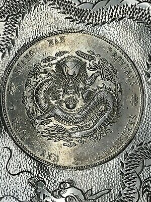 1904 CHINA EMPIRE Dollar DRAGON COIN STERLING SILVER ASH TRAY/DISH~WITH HALLMARK