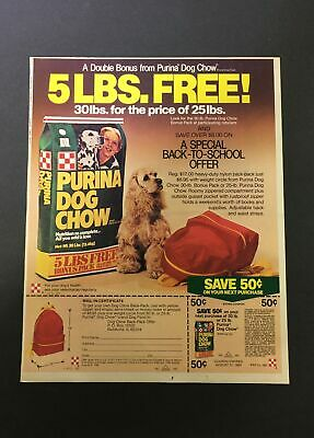 VTG 1983 Purina Dog Chow Dog Food Back-To-School Promo FREE Backpack Ad Coupon