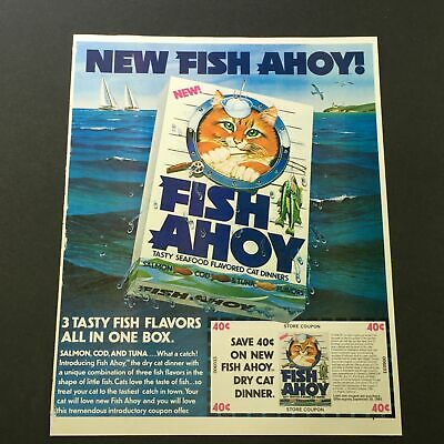 VTG Retro 1980 Fish Ahoy Tasty Seafood Flavored Cat Dinners Print Ad Coupon