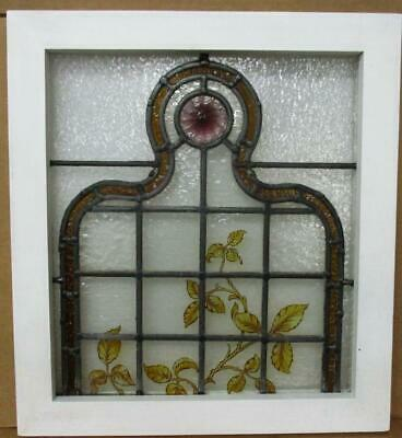 VICTORIAN ENGLISH LEADED STAINED GLASS WINDOW Hand Painted Vines 18.5' x 20.25""