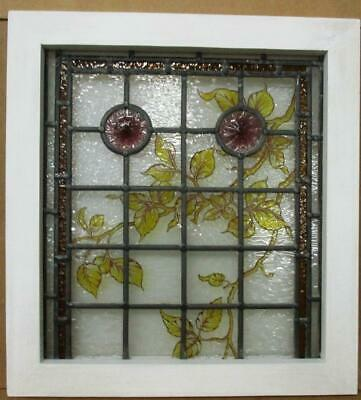 "VICTORIAN ENGLISH LEADED STAINED GLASS WINDOW Hand Painted Vines 18.75"" x 20.5"""
