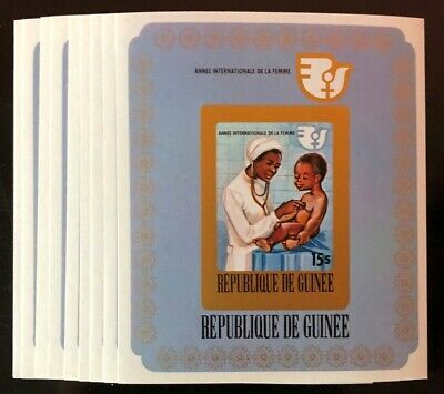 Guinea #704a Imperf 9 Sheets of 1 Int'l Women's Year 1976 MNH