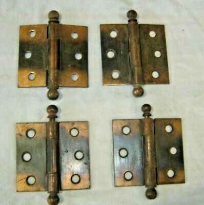 "Antique Salvage ~ 4 Antique Japanned Metal Hinges w/ slip pins 3 1/2"" tall  1222"